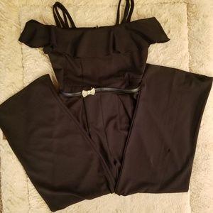 TWEEN DIVA GIRLS Black Cold-Shoulder Jmpsuit Sz 16
